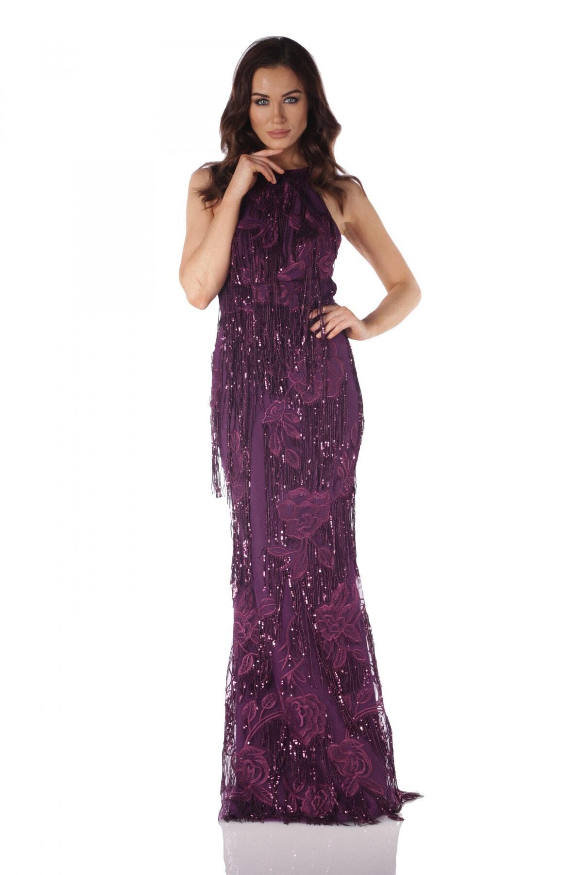 Carmen Mürdüm Payetli Saçaklı Uzun Abiye Elbise 1