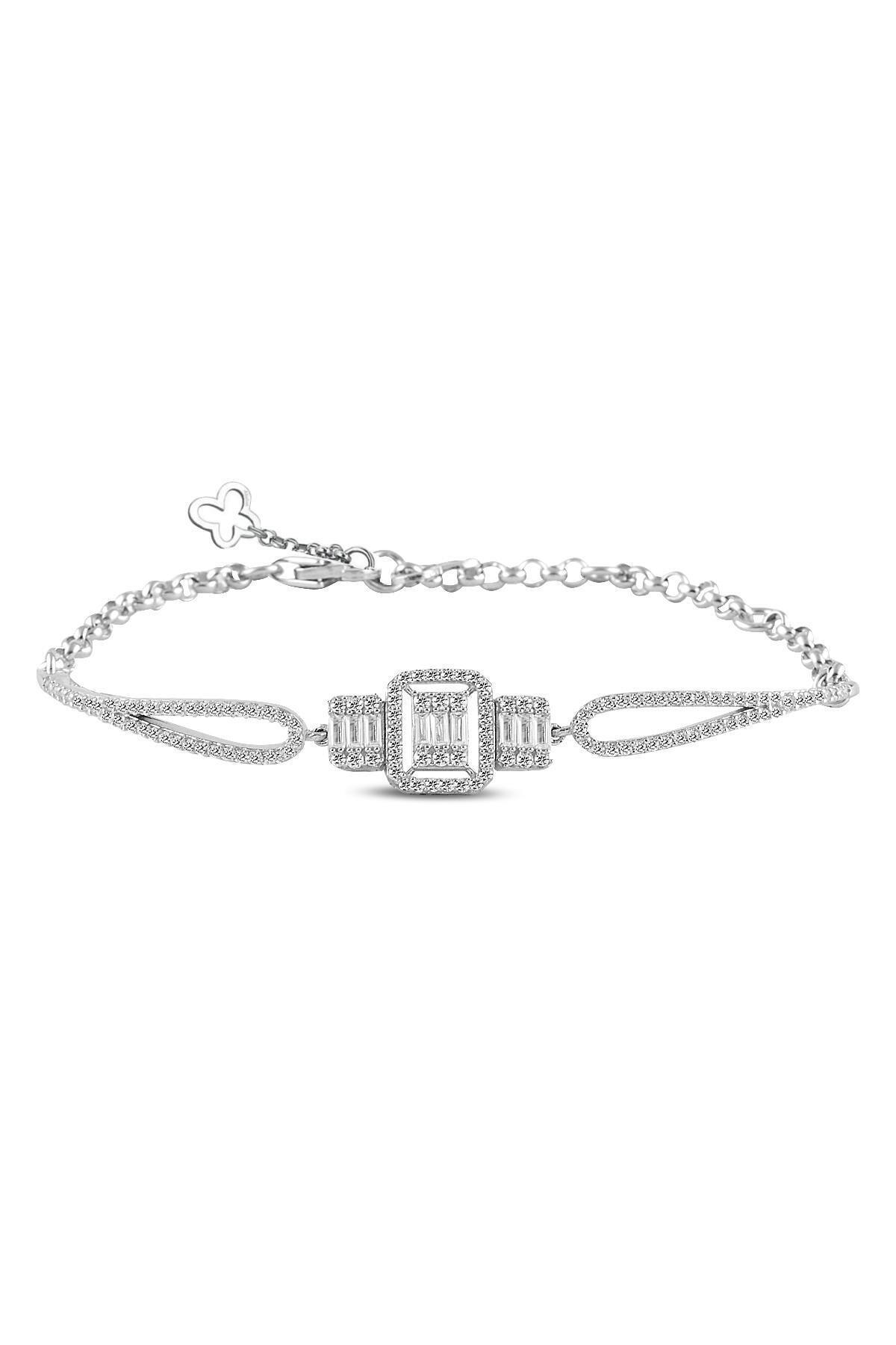 Söğütlü Silver Gümüş Rodyumlu Baget Taşlı Bilezik 1