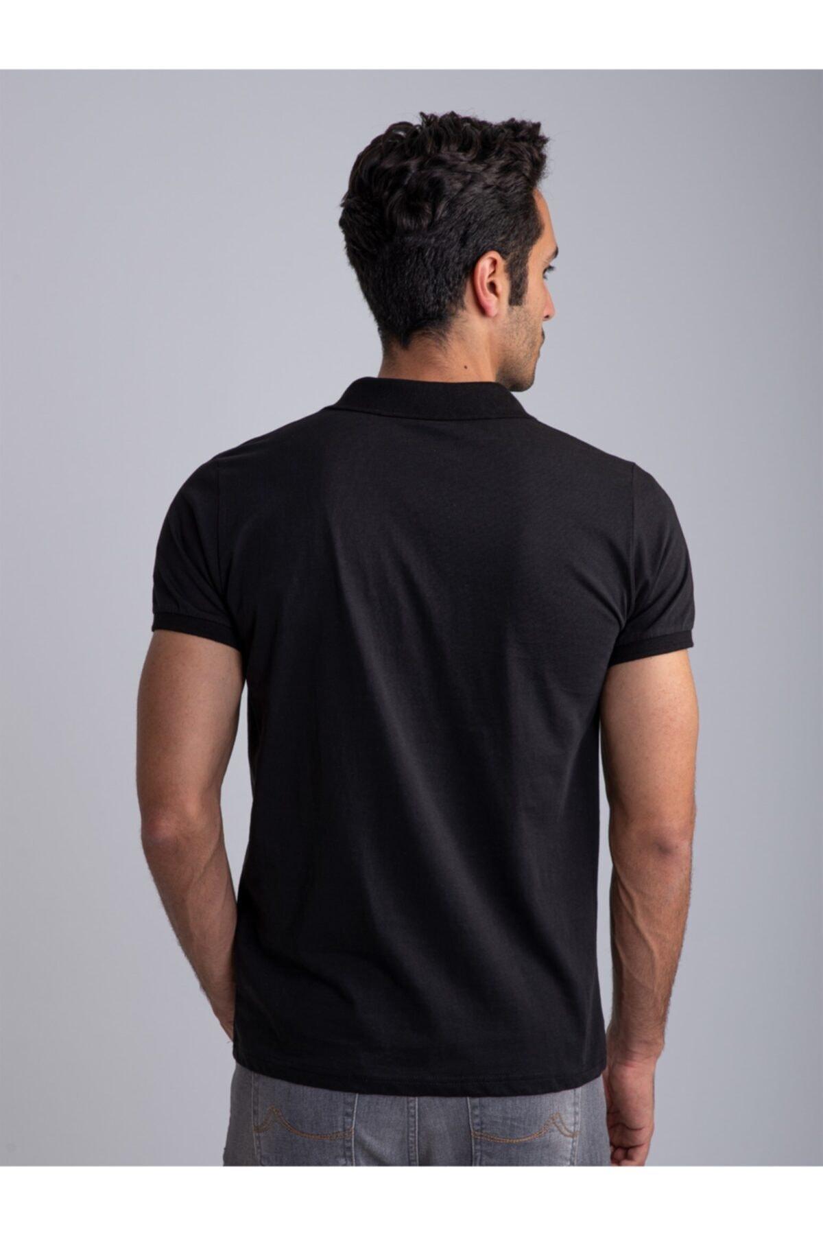 Dufy Siyah Polo Yaka Süprem Pamuklu Düz Erkek T-shırt - Slım Fıt 2