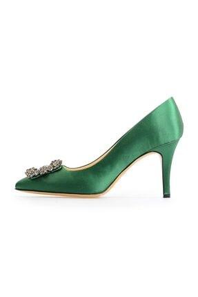 Flower Yeşil Kare Tokalı Stiletto