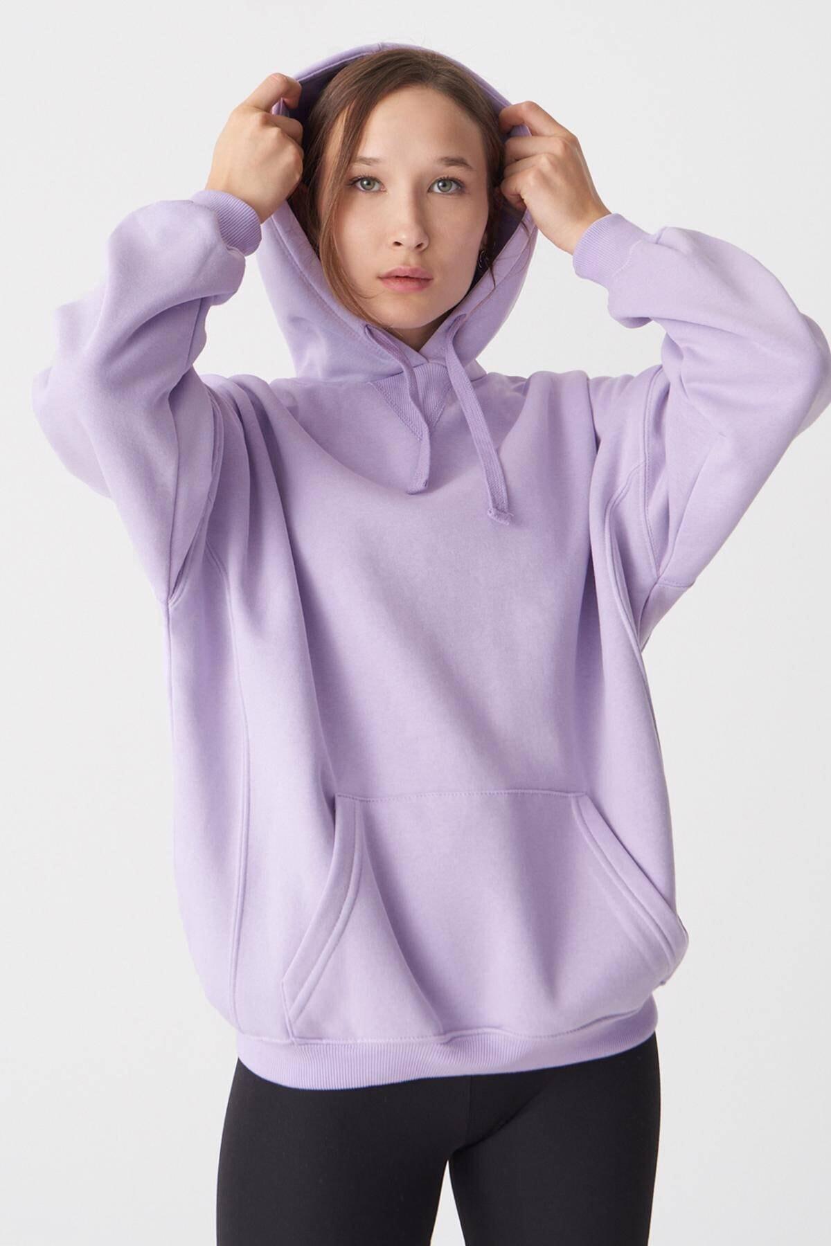 Addax Kadın Lila Kapüşonlu Sweatshirt S0519 - P10 - V2 ADX-0000014040 1