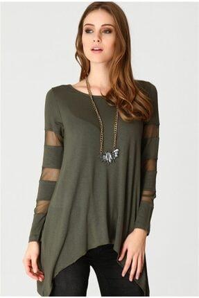 boutiquen 10021-10021-kolları Ve Sırtı Tül Detaylı Haki Yeşili Bluz-4