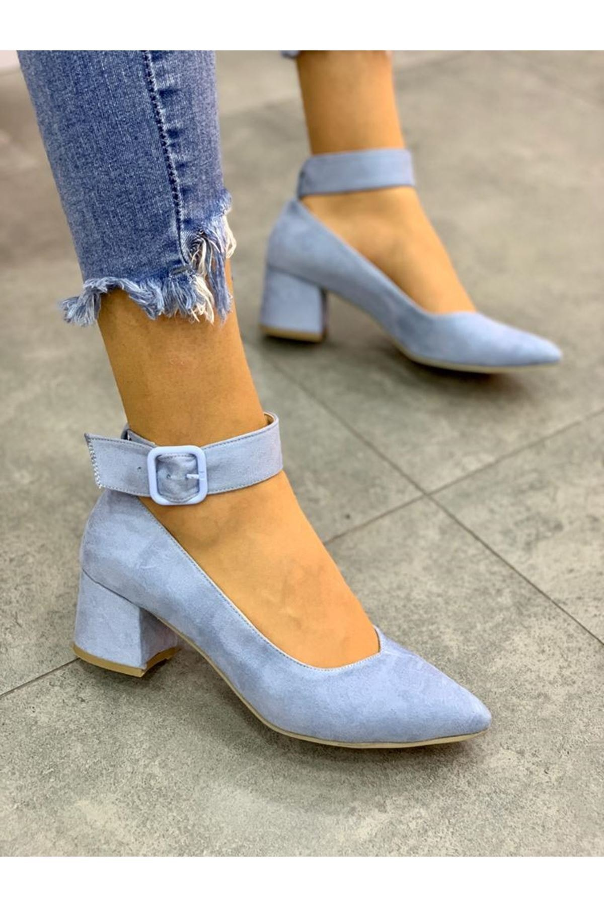 LDÇ Bilekten Kemer Detaylı Kadın Topuklu Ayakkabı-s. Bebe Mavi 1