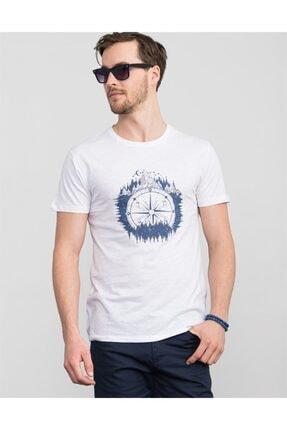 Tudors Slim Fit Bisiklet Yaka Beyaz Baskılı T-shirt