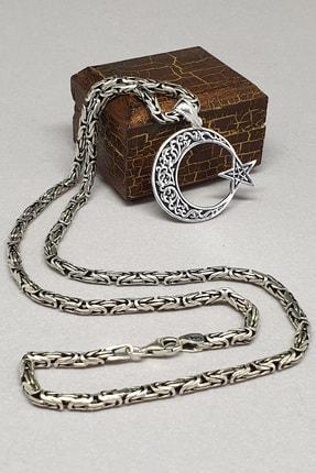 Royal Tesbih Ay Yıldız Kral Erkek Zincir 925 Ayar Gümüş