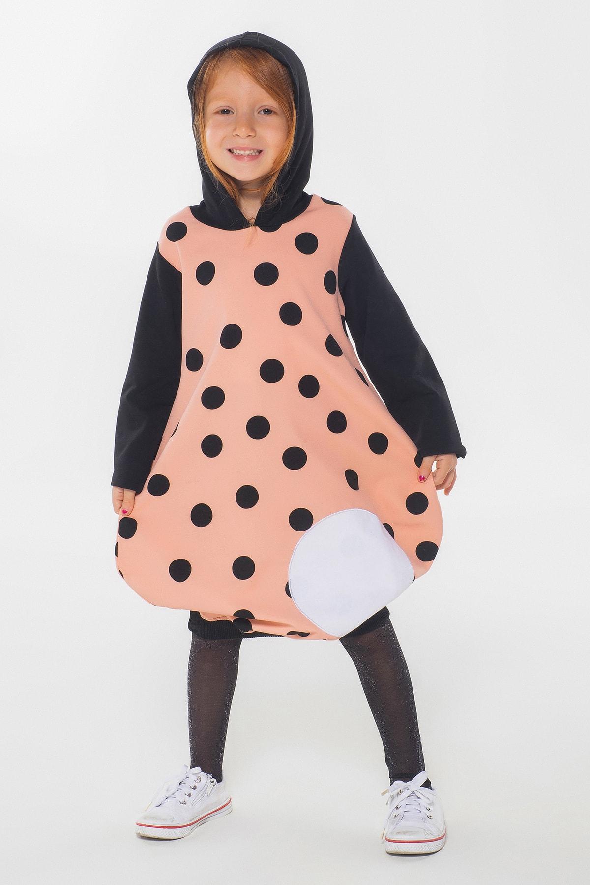 ZENOKIDO Kız Çocuk Pembe Puantiyeli Kapşonlu  Elbise 1