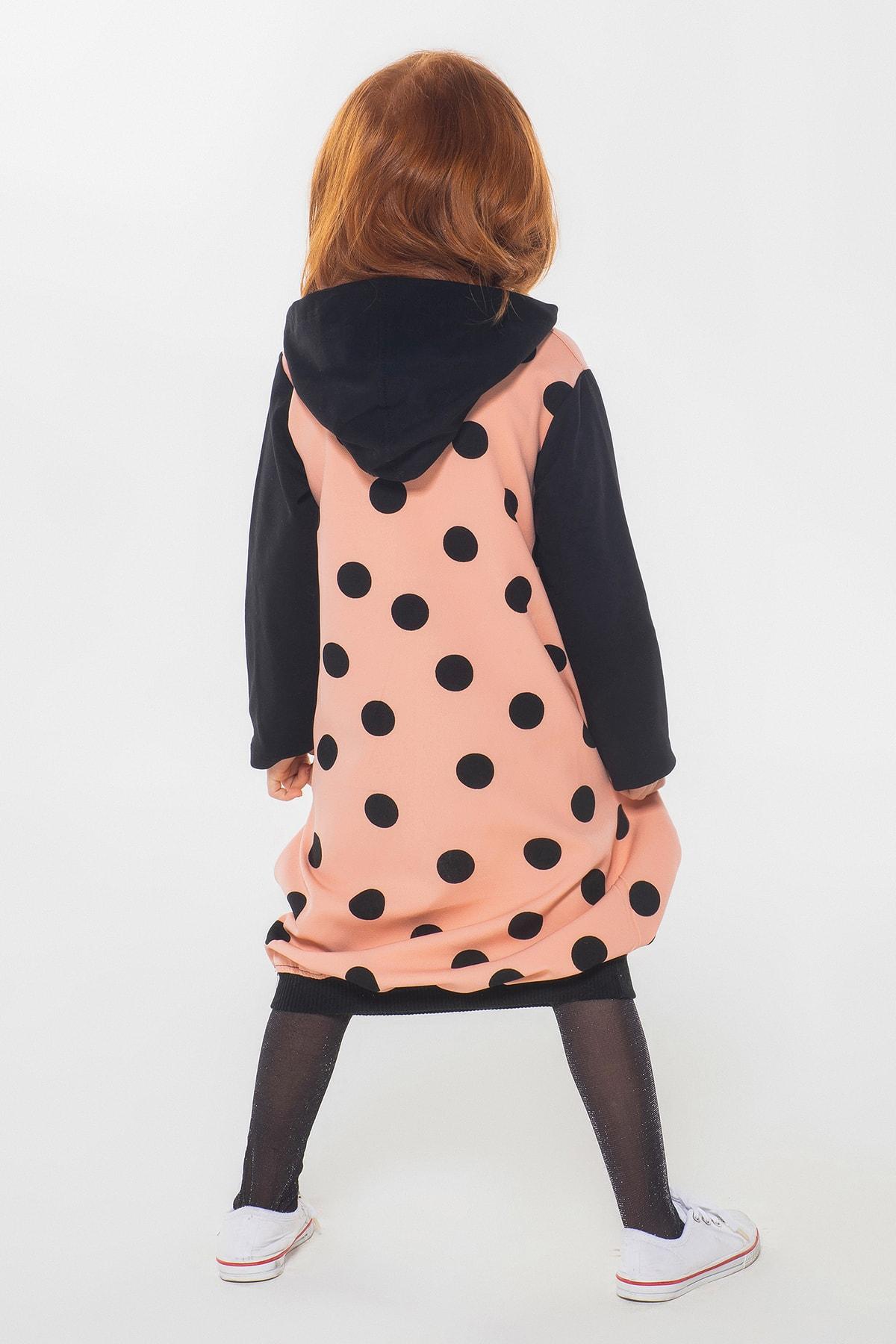 ZENOKIDO Kız Çocuk Pembe Puantiyeli Kapşonlu  Elbise 2