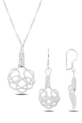 Söğütlü Silver Gümüş Beyaz Kazaziye Aşk Düğümü Ikili Set