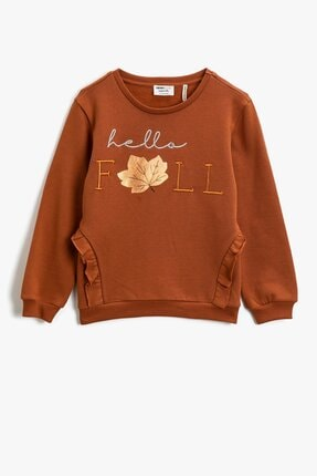 Koton Kız Çocuk Yazılı Işlemeli Baskılı Kiremit Sweatshirt 1kkg17354ok