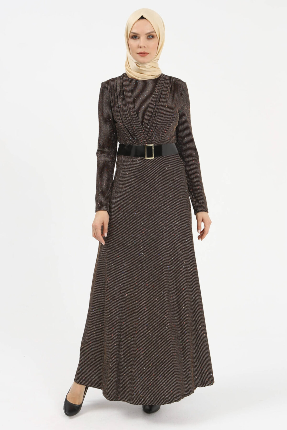 Setrms Işıltılı Kruvaze Yaka Detaylı Kemerli Elbise 1