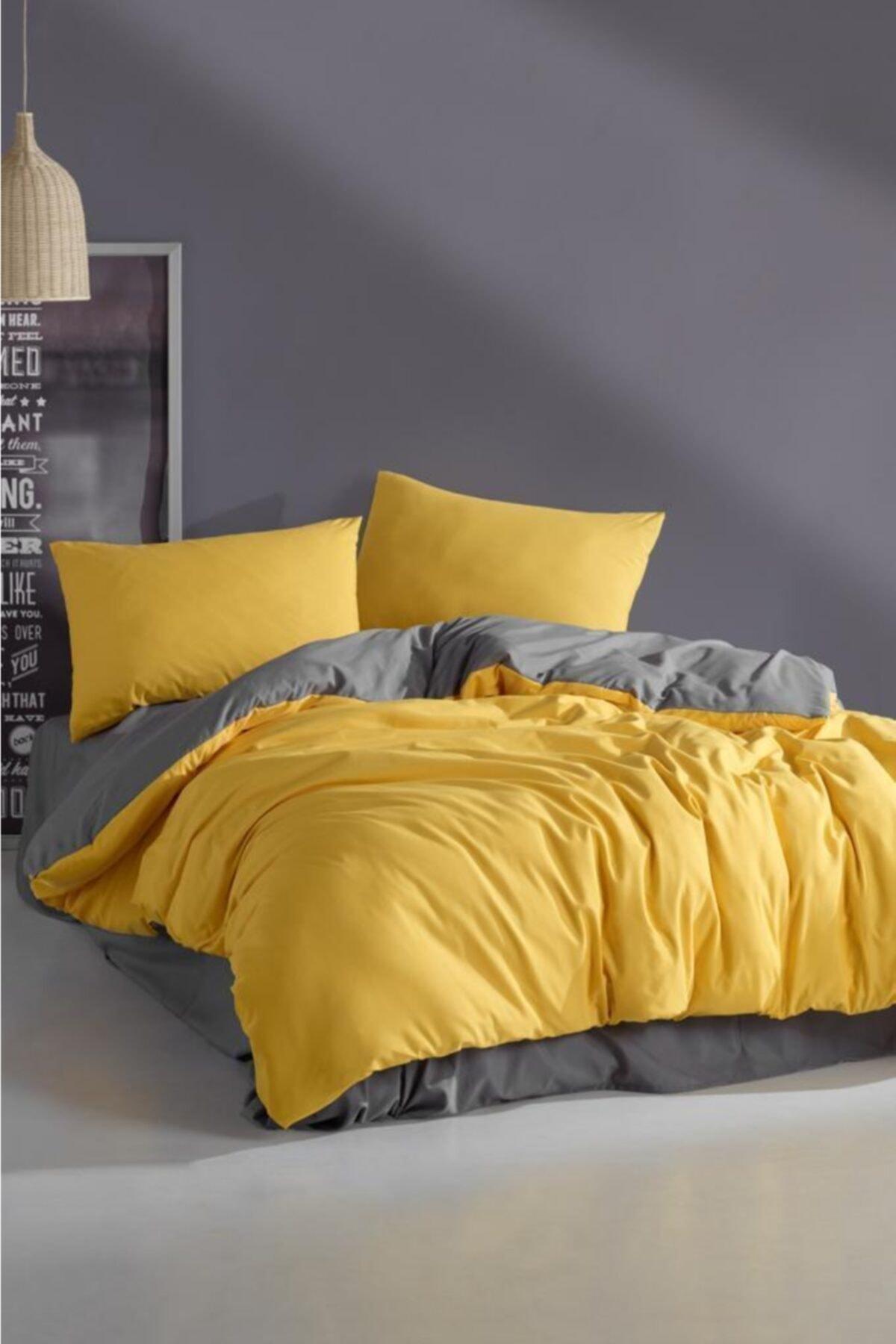 LadyModa Yellow&grey Çift Kişilik %100 Pamuk Nevresim Takımı 2