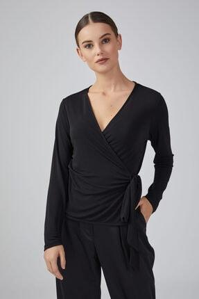 Gusto Anvelop Kesim Uzun Kollu Jarse Bluz - Siyah