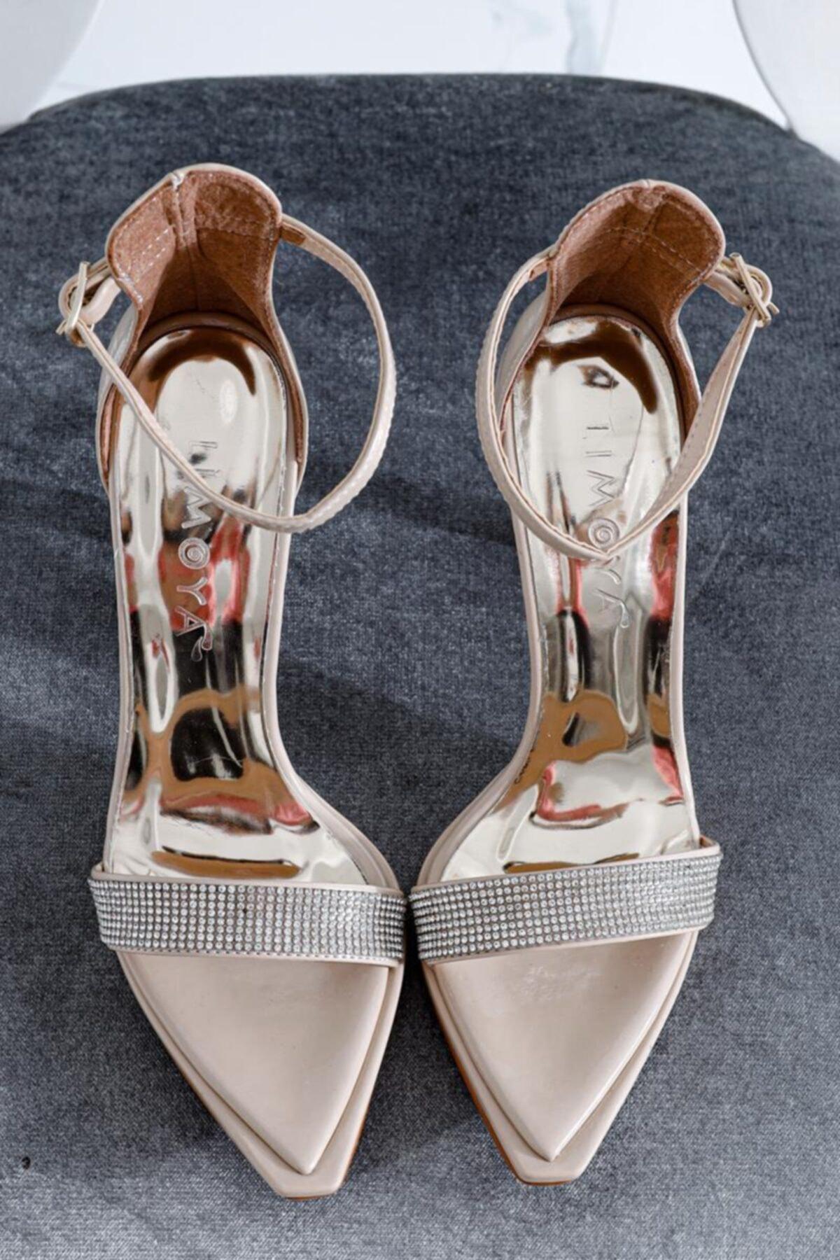 Limoya Amira Ten Rugan Taş Detaylı Tek Bant Ince Topuklu Sivri Sandalet 2