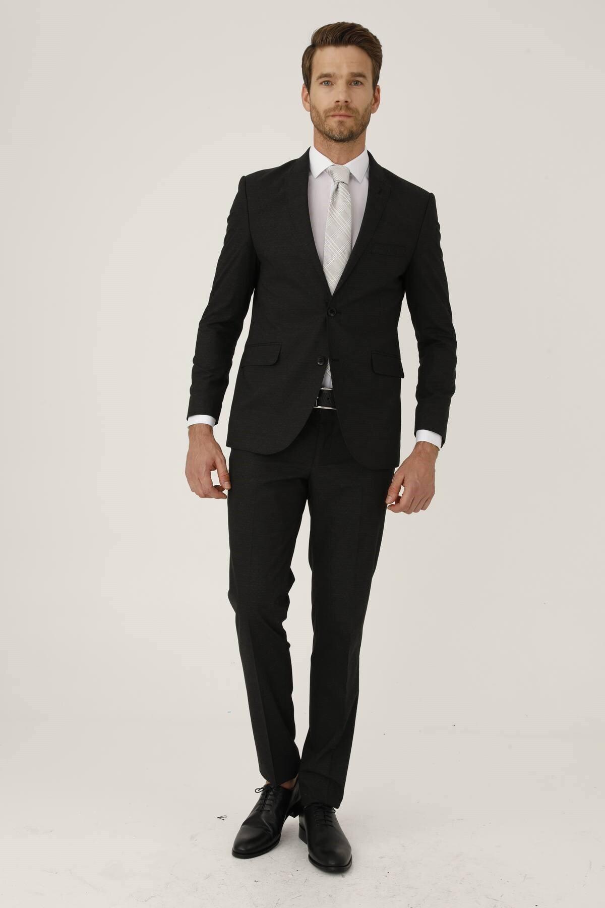 İgs Erkek K.gri Slım Fıt / Dar Kalıp Ince Kırlangıç Takım Elbise 2