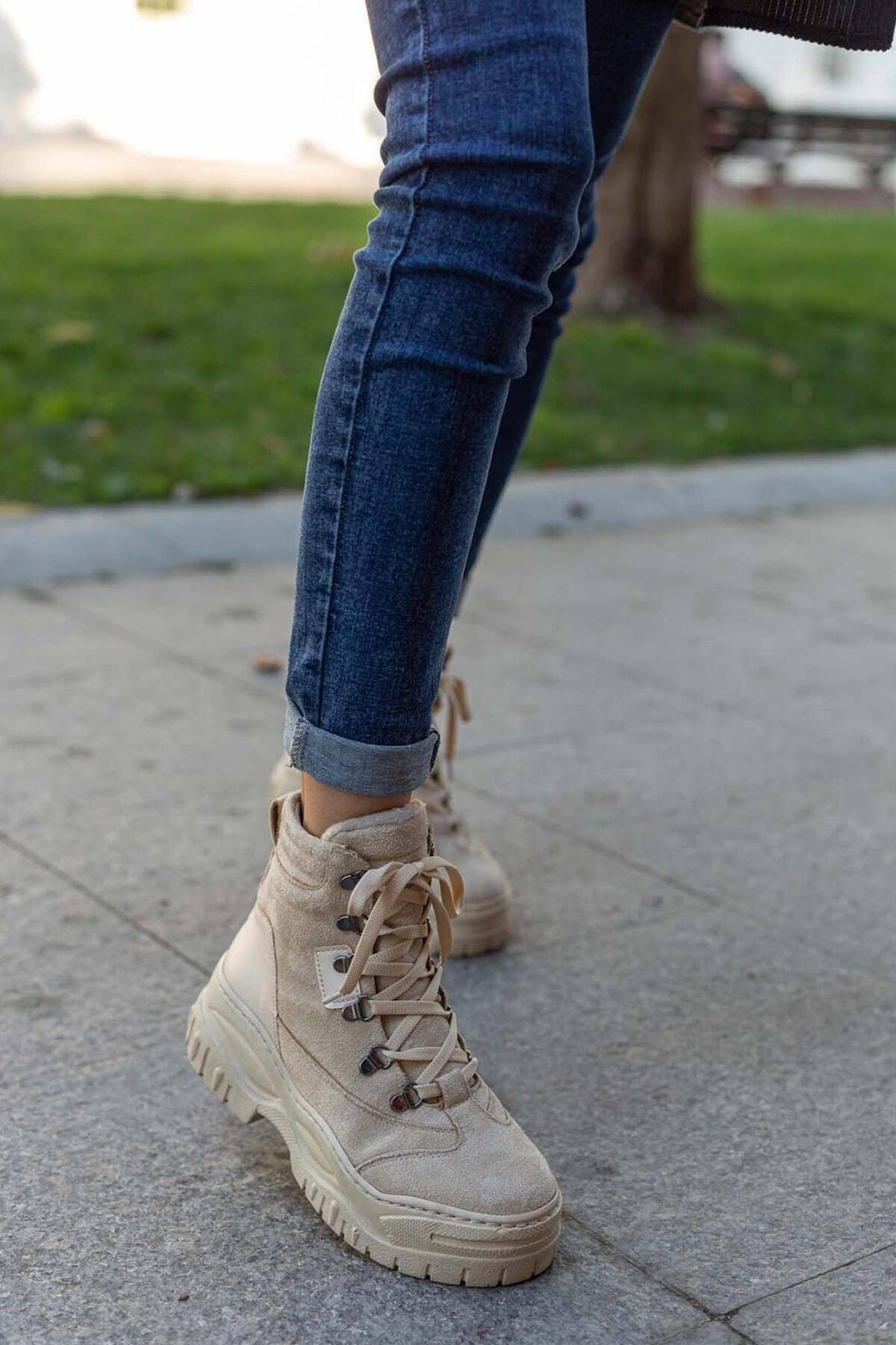 Lila Ayakkabı Kadın Bej Süet Spor Bot&bootie 2