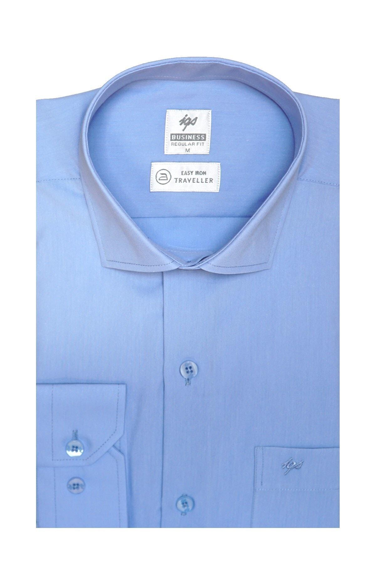 İgs Erkek A.mavi Regularfıt / Rahat Kalıp 7 Cm Klasik Gömlek 1