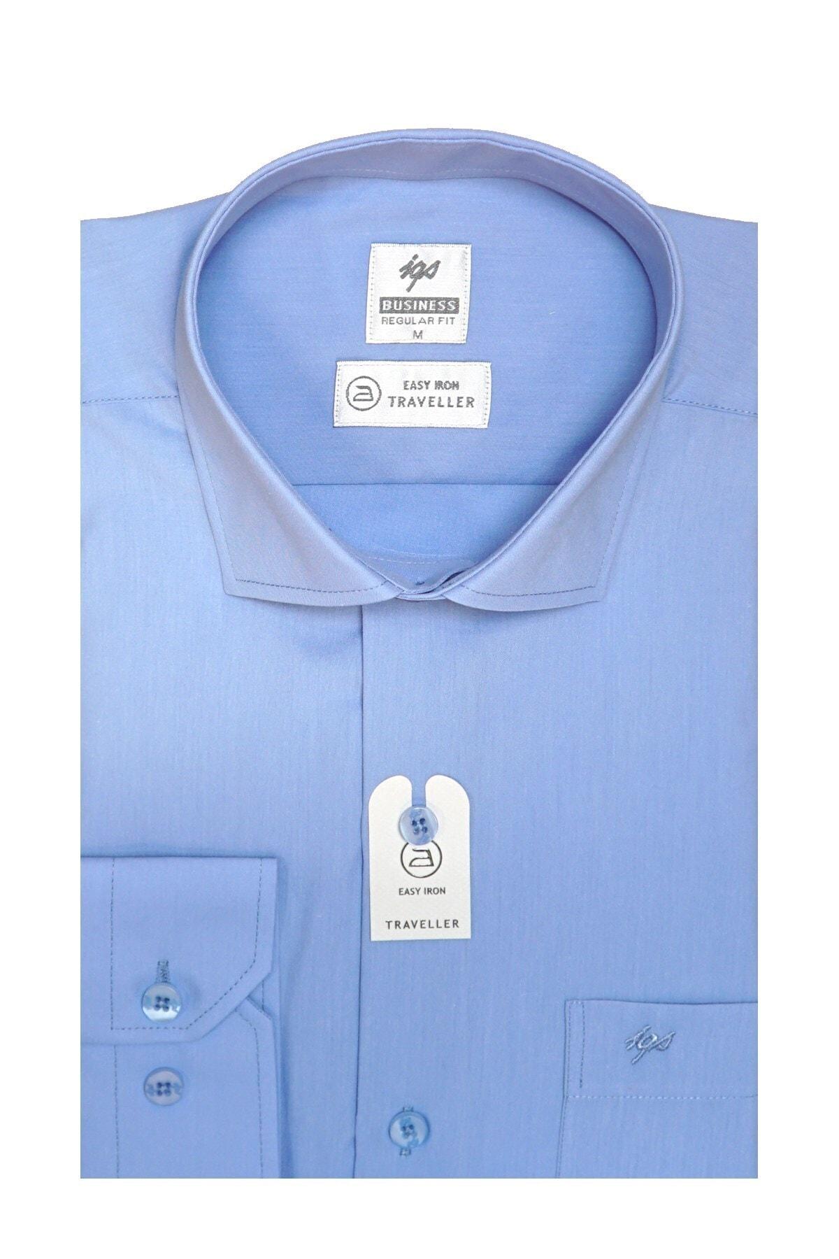 İgs Erkek A.mavi Regularfıt / Rahat Kalıp 7 Cm Klasik Gömlek 2
