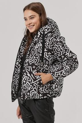 Y-London Kadın Desenli Kapşonlu Şişme Mont Y20w110-5215