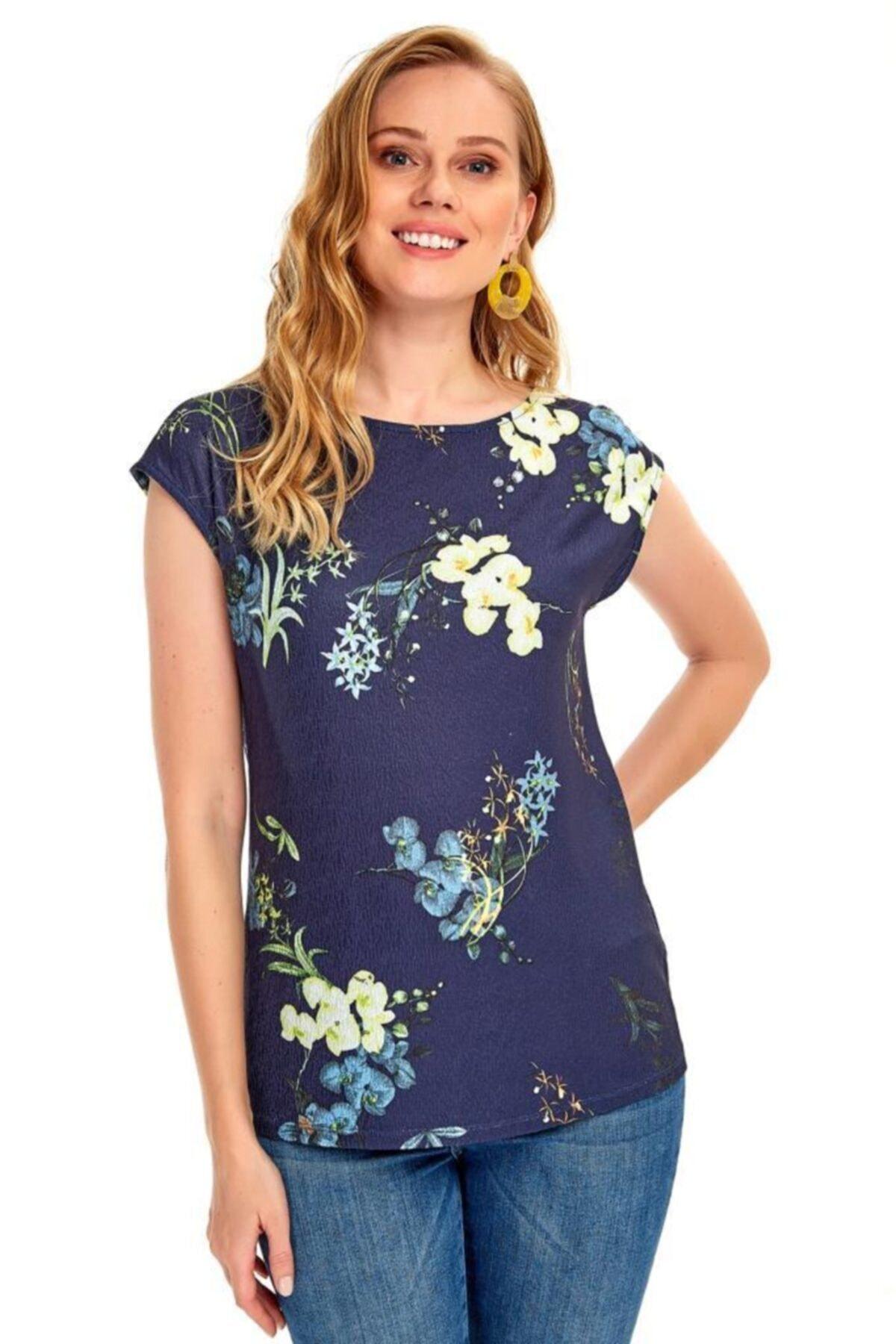 İKİLER Kadın Lacivert Düşük Kol Desenli Bluz 020-1010 1