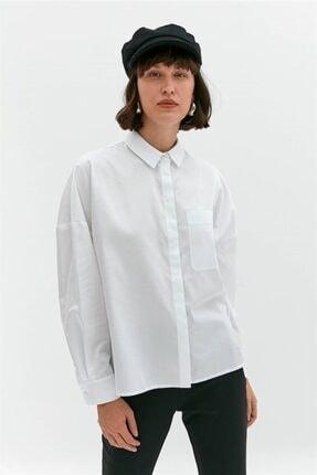 rue. Beyaz Oversize Poplin Gömlek