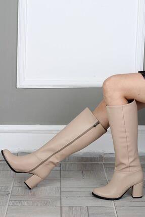 Modabuymus Yuvarlak Burun Kalın Topuklu Ten Kadın Çizme - Barkab