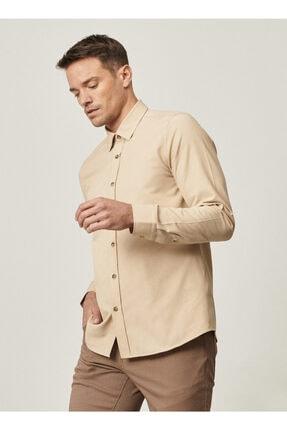 AC&Co / Altınyıldız Classics Erkek Bej Tailored Slim Fit Dar Kesim Düğmeli Yaka Oxford Gömlek