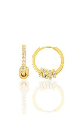 Söğütlü Silver Gümüş Zirkon Taşlı Altın Yaldızlı Ring Küpe