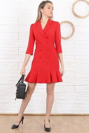 Arlin Kadın Blazer Dirsek Kol Kırmızı Elbise