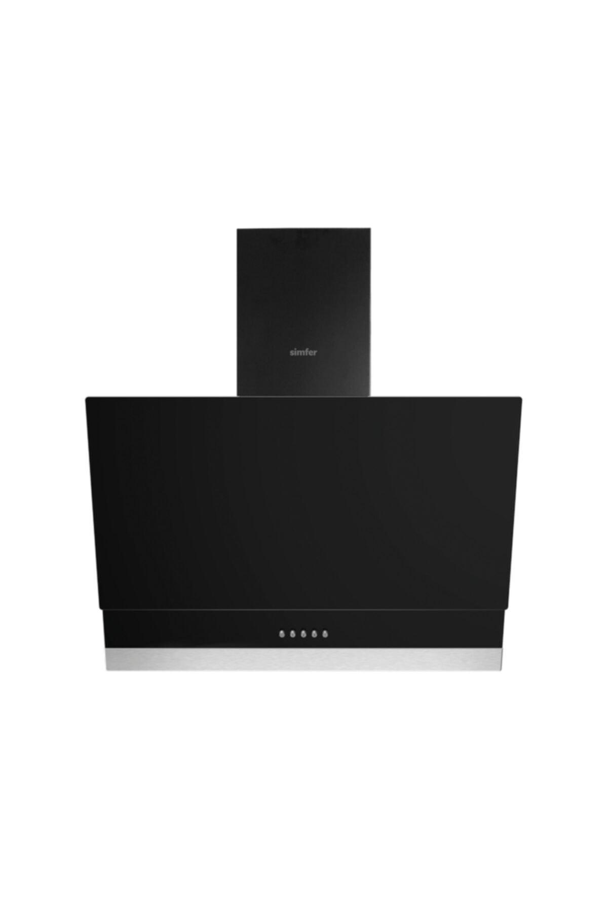 Simfer 9603 60 Cm Siyah Eğik Cam Push Buton Davlumbaz 1