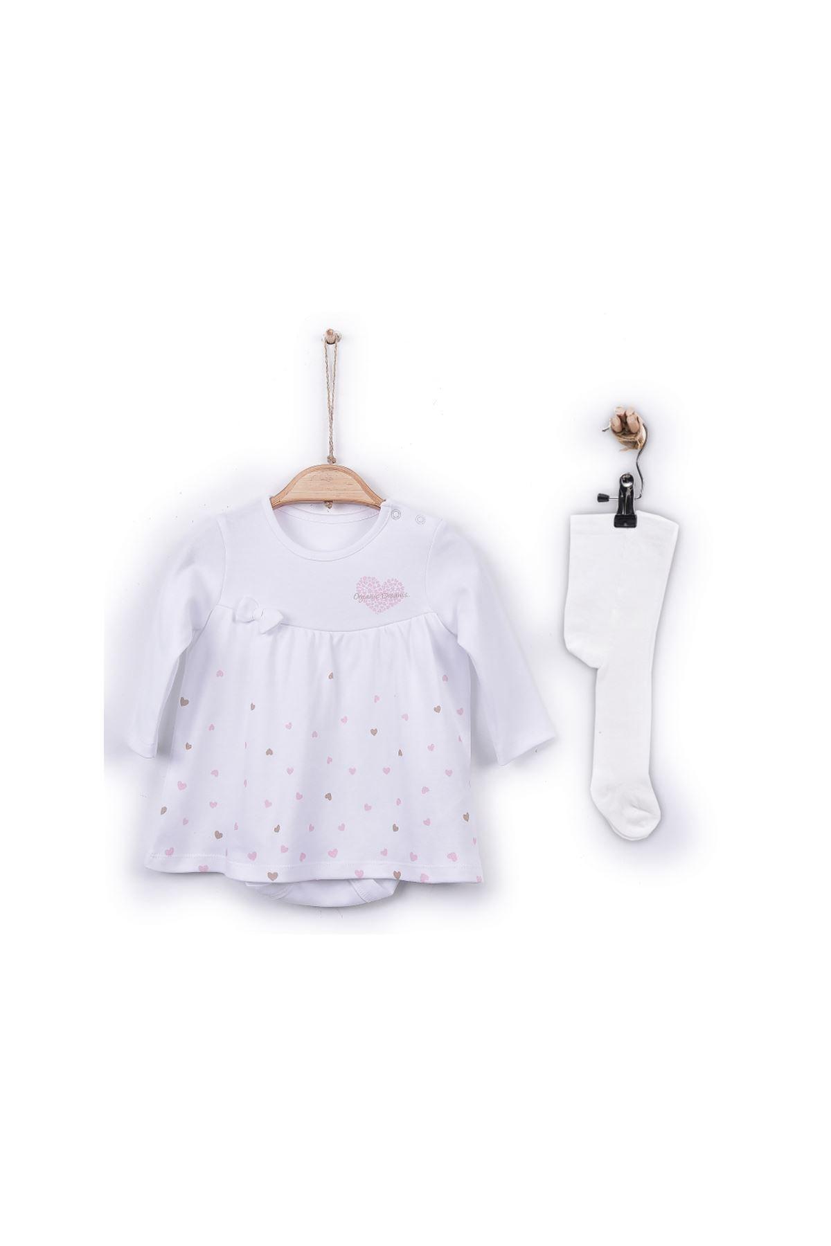kitikate S30068 Kız Bebe Organik Dreams Jile Body - Çoraplı Beyaz 1