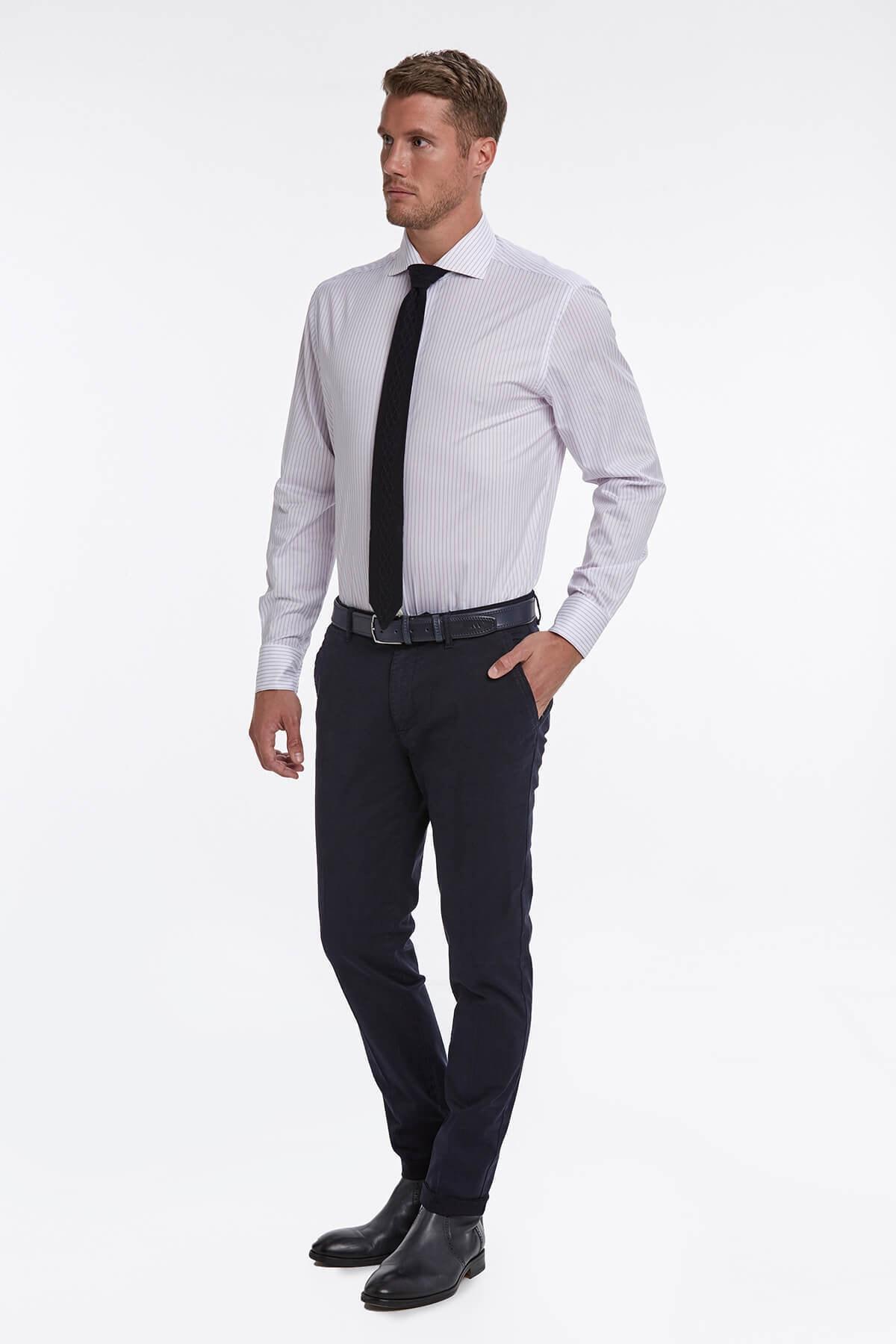 Hemington Lila Beyaz Çizgili Business Gömlek 2