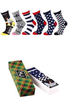 Harry Jons Socks 6'lı Karışık Desenli Premium Çorap Kutusu