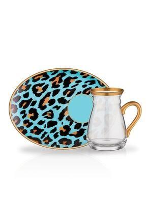 Glore Nihavent Ikram Mavi Leopar 12 Parça Kulplu Çay Bardağı Seti