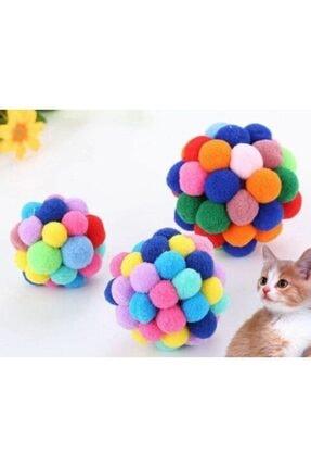 Easy Pet Ponponlu Ve Çıngıraklı Kedi Oyun Topu Oyuncağı ( 1 Adet )