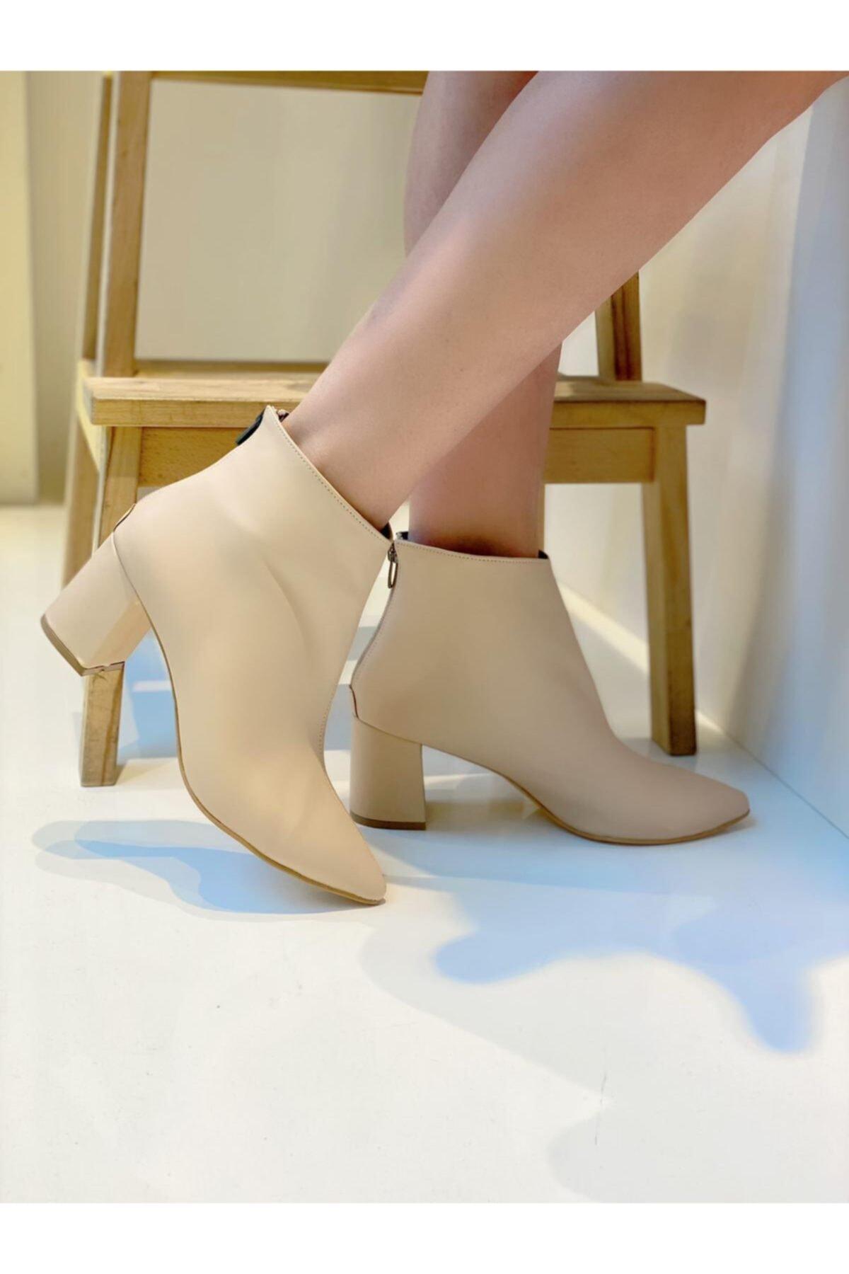 Mel Butik by Gizem Yüncü Mel Shoes Kadın Nude Topuklu Bot Mel0002020-10 1
