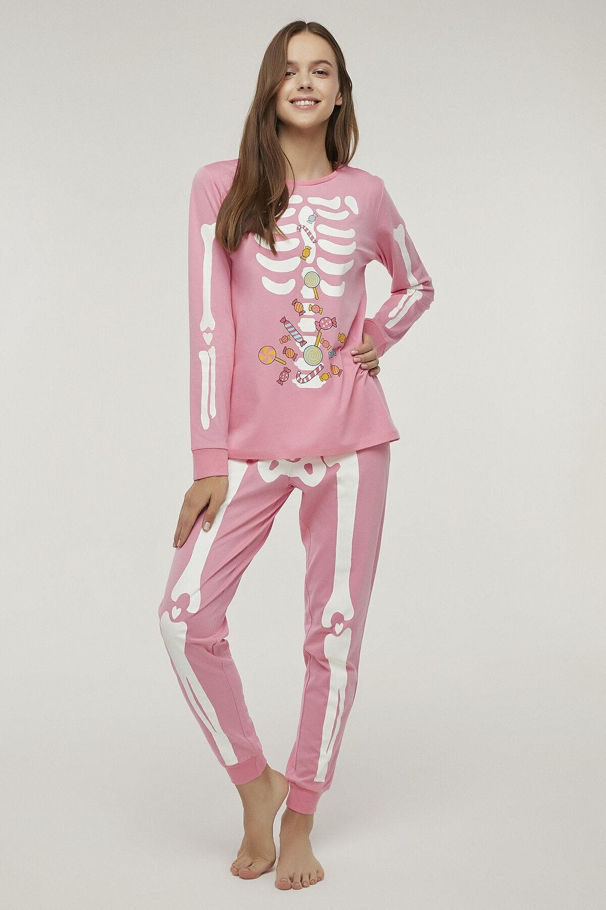 Penti Pembe Skeleton Pijama Takımı 1