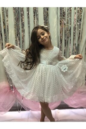 Buse&Eylül Bebe Beyaz Tüllü Puantiye Detaylı Kız Çocuk Elbisesi