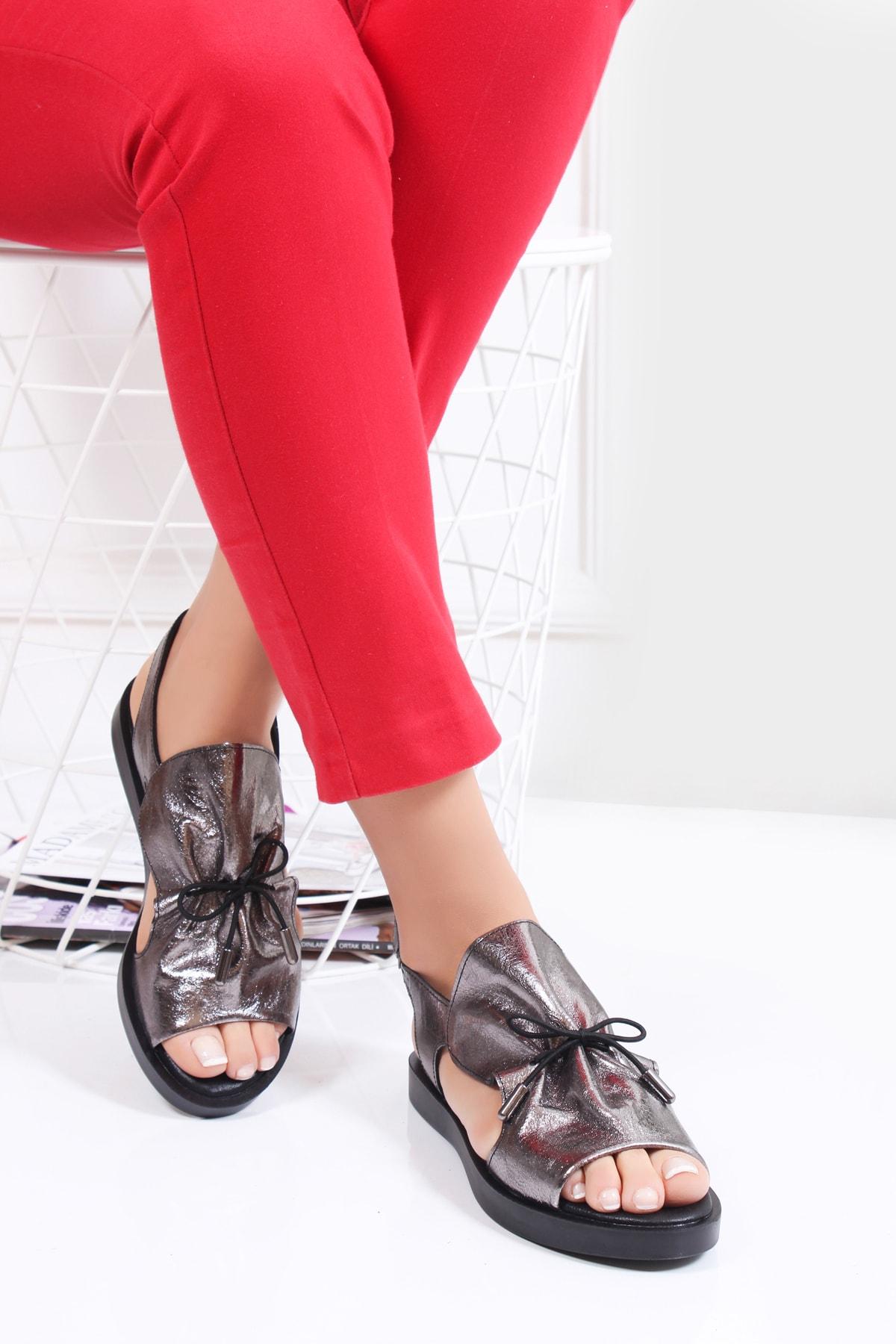 Deripabuc Hakiki Deri Platin Kadın Deri Sandalet Dp26-0592 1