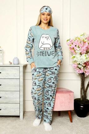 nisaNCa Kışlık Peluş Polar Kadın Pijama Takımı