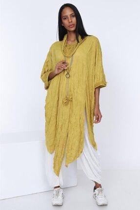 Panço Kadın Sarı Kraş Kolyeli Tunik