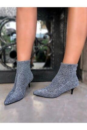 LuviShoes 3415060 Gümüş Simli Kadın Bot Gumus