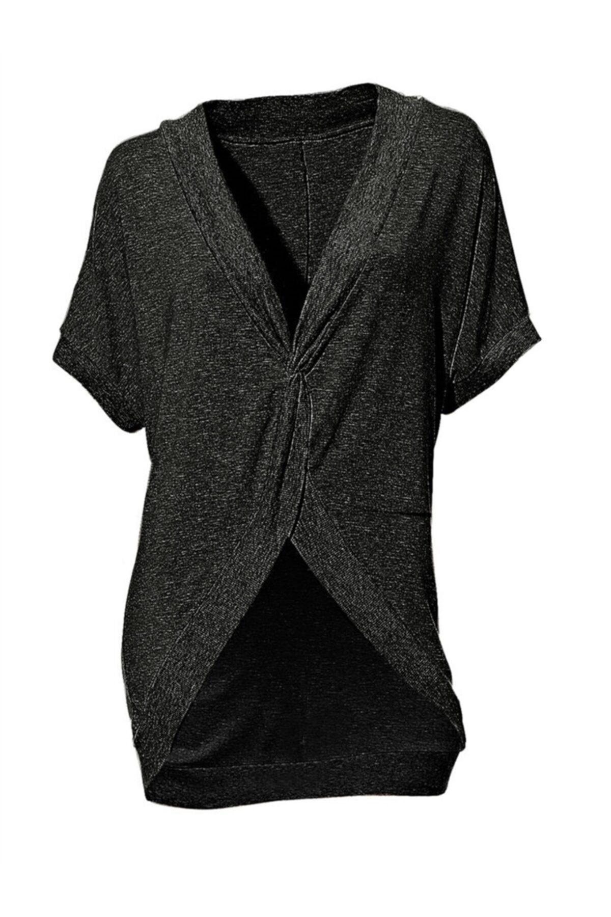 Bulalgiy Kadın Siyah Yarasa Kollu Ceket T-shirt - Bga003122 1