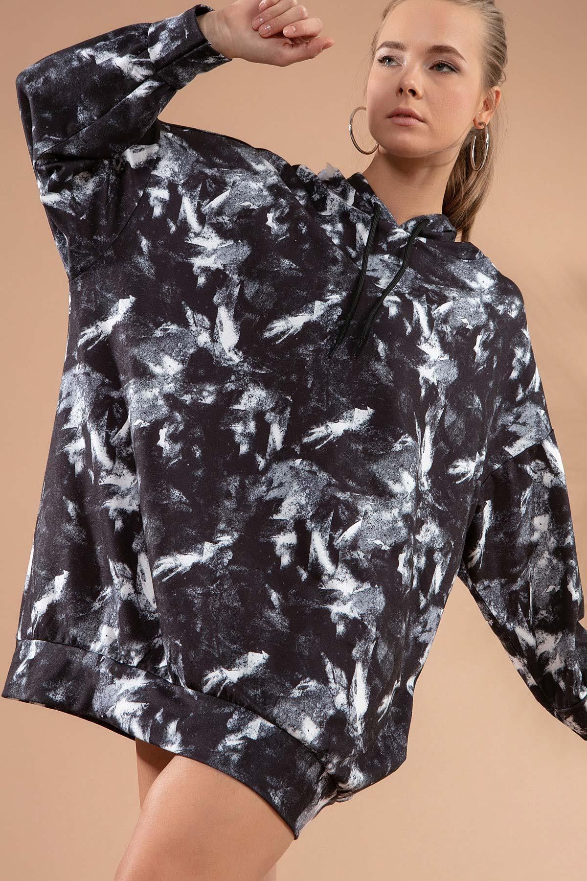 Y-London Kadın Siyah Baskılı Kapşonlu Sweatshirt Elbise P20w-4125-2 2