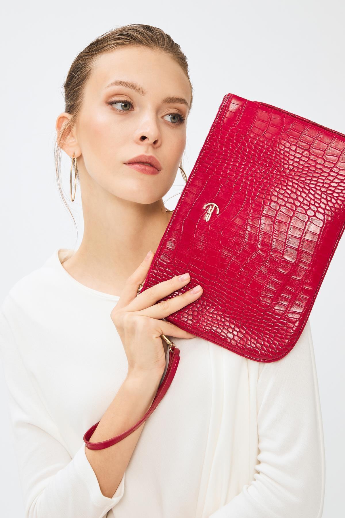 Deri Company Kadın Basic Clutch Çanta Kroko Timsah Desen Kırmızı 214002 2