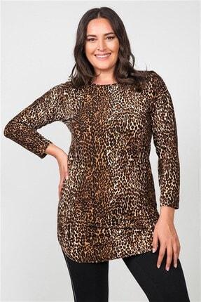 Womenice Kadın Kahverengi Leopar Desenli Pamuklu Büyük Beden Bluz