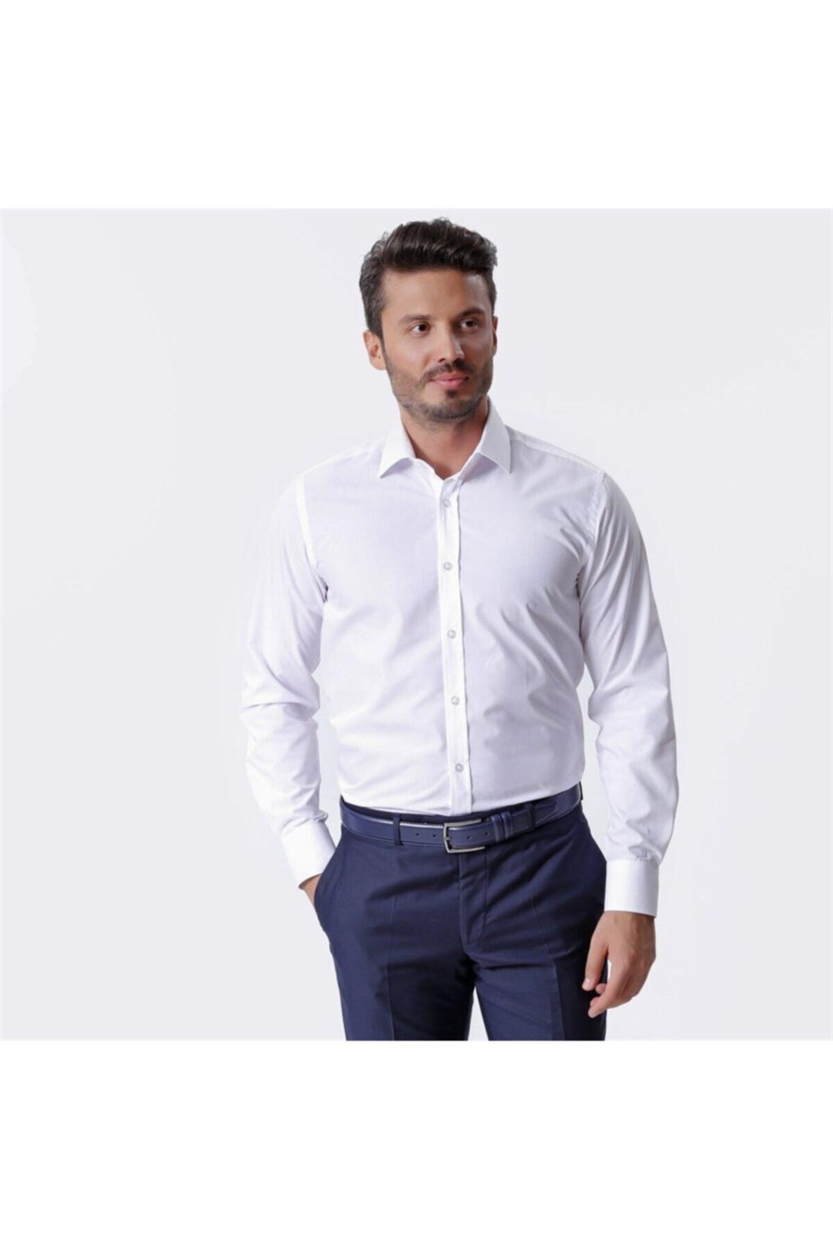 Ottomoda Beyaz Uzun Kollu Klasik Erkek Gömlek 1