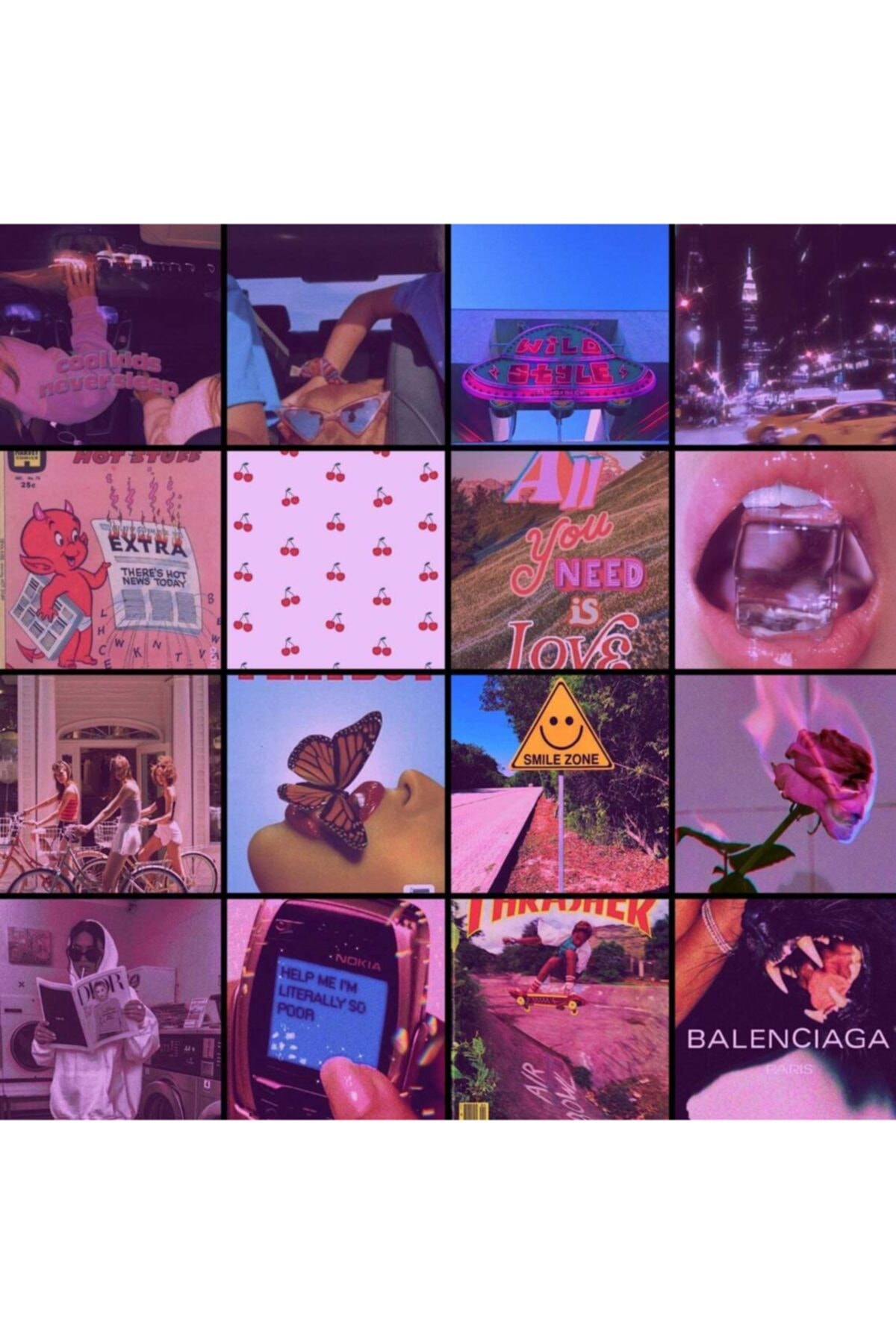 bukashops Aesthetic Pink Indie 60'lı Duvar Posteri Seti 2