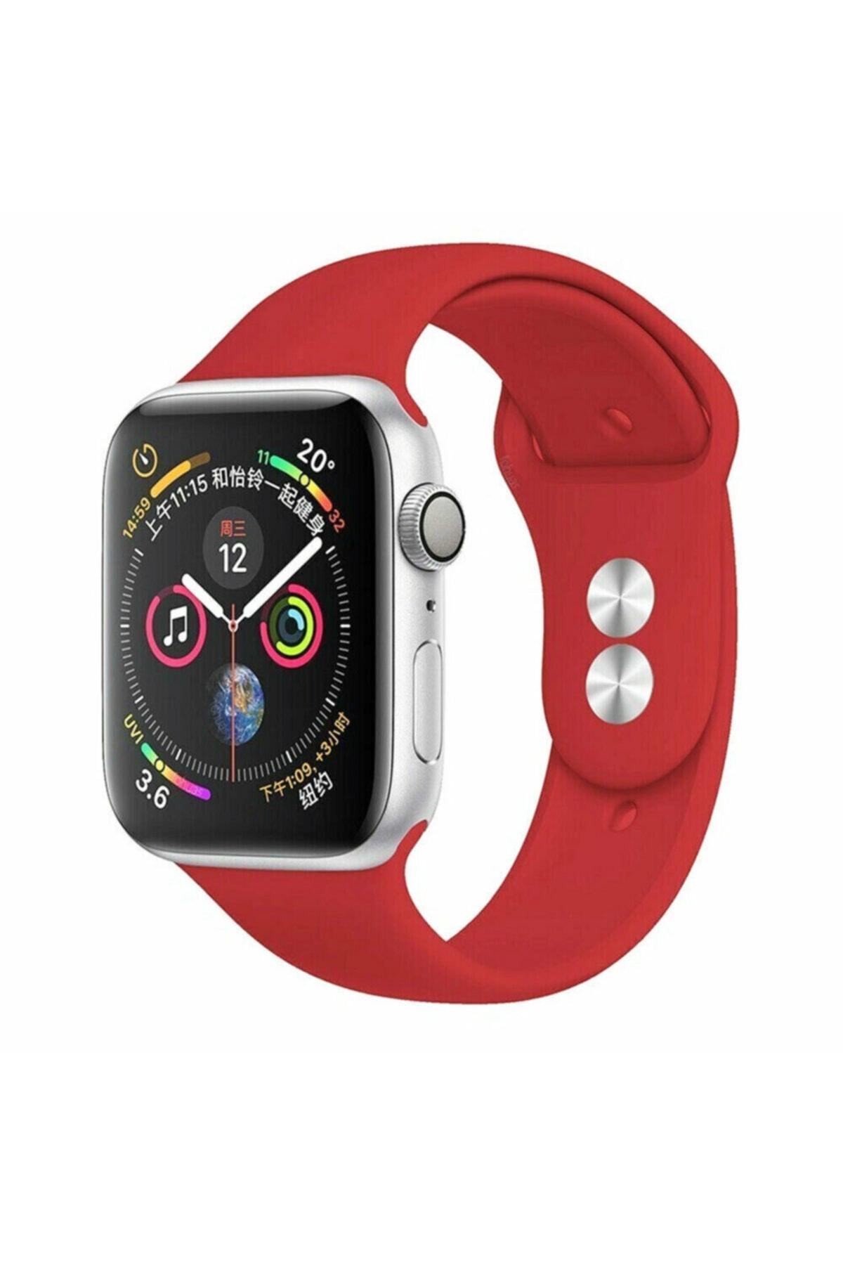Bilişim Aksesuar Apple Watch 42 44 Mm Silikon Kordon Kırmızı 1