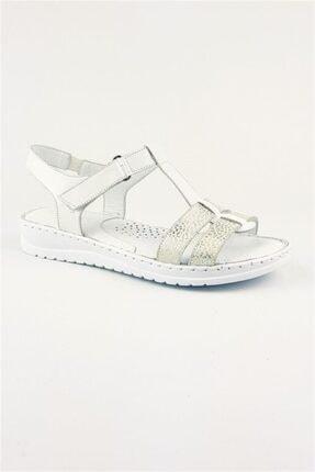 Deripabuc Hakiki Deri Beyaz Kadın Deri Sandalet Dp05-s010