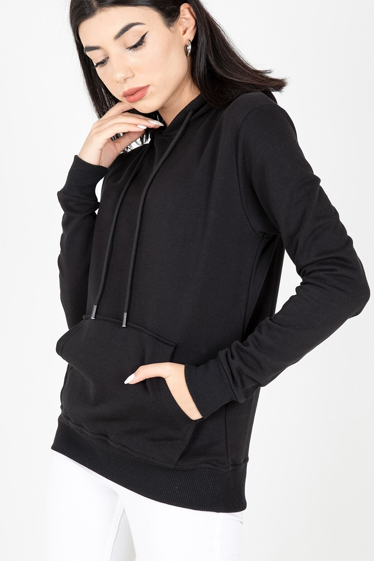 MY LIFE Mylife Kapüşonlu Kanguru Cep Kadın Sweatshirt Siyah - Mlf2735 1